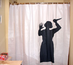 Halloween decorations for the bathroom for Psycho shower curtain and bath mat