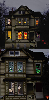 creepy halloween window coverings such as those - Halloween Window Clings