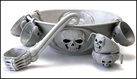 the skull punchbowl set includes a 15 12 diameter punch bowl six matching cups and ladle set has raised skull designs and is made of a sturdy plastic - Halloween Punch Bowl Recipes